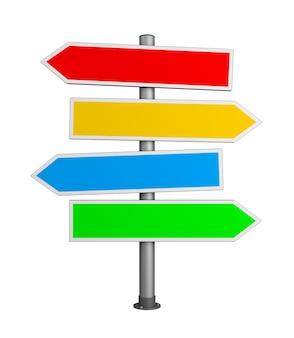 Panneau de signalisation de flèches directionnelles isolé
