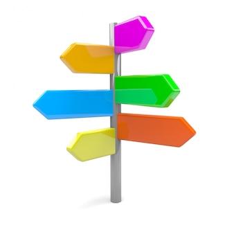 Panneau de signalisation de flèches pointant dans de nombreuses directions différentes