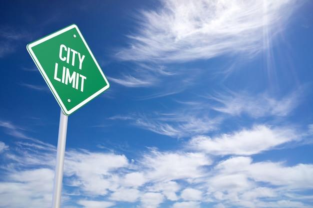 Panneau de signalisation de limite de ville verte close up