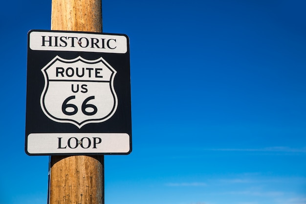Panneau de signalisation de la route 66 en arizona usa