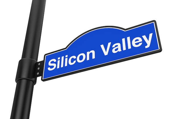 Panneau de signalisation de silicon valley sur un fond blanc. rendu 3d