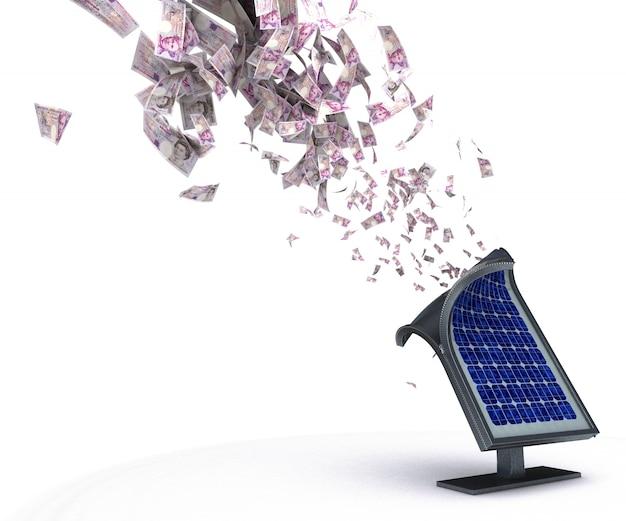Panneau solaire expulsant l'argent