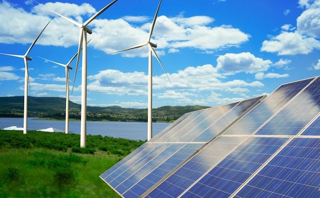 Panneau solaire et parc éolien énergie propre.