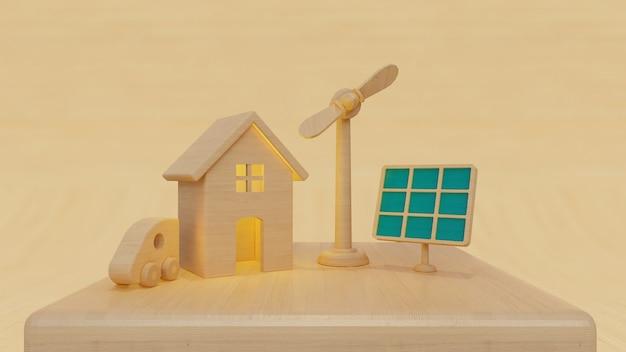 Panneau solaire de rendu 3d et éolienne avec une maison et une voiture sur fond beige