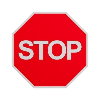 Panneau stop sur blanc.