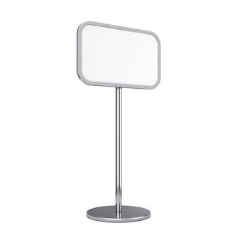 Panneau de trottoir de support de publicité extérieure ou intérieure vide vide sur un fond blanc. rendu 3d