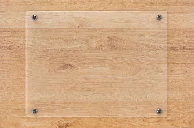 Panneau de verre de rendu 3d ou cadre acrylique sur fond de bois