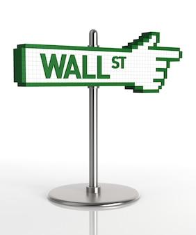 Panneau de wall street. image générée numériquement. rendu 3d