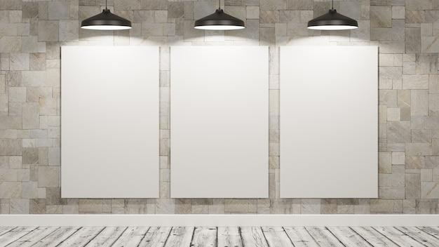 Panneaux d'affichage vierges dans la pièce éclairée par des lampes