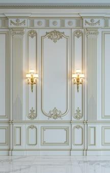 Panneaux muraux blancs de style classique avec dorure. rendu 3d