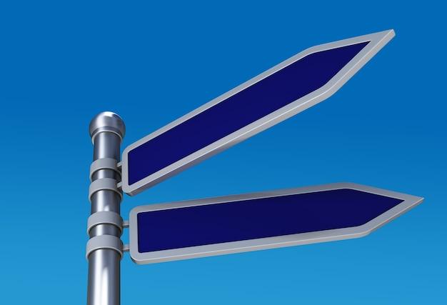 Panneaux de signalisation directionnels vierges dans le ciel