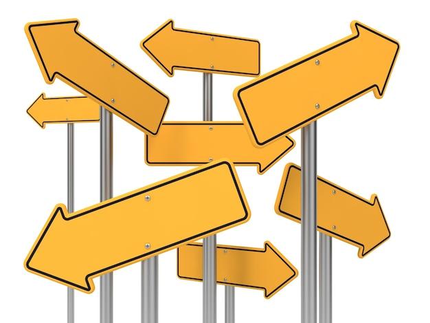 Panneaux de signalisation de flèche directionnelle jaune