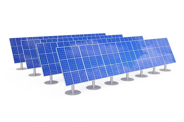 Panneaux solaires bleus sur fond blanc. rendu 3d.