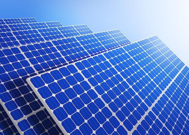 Panneaux solaires contre le ciel bleu