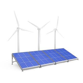 Panneaux solaires et éoliennes sur fond blanc. rendu 3d