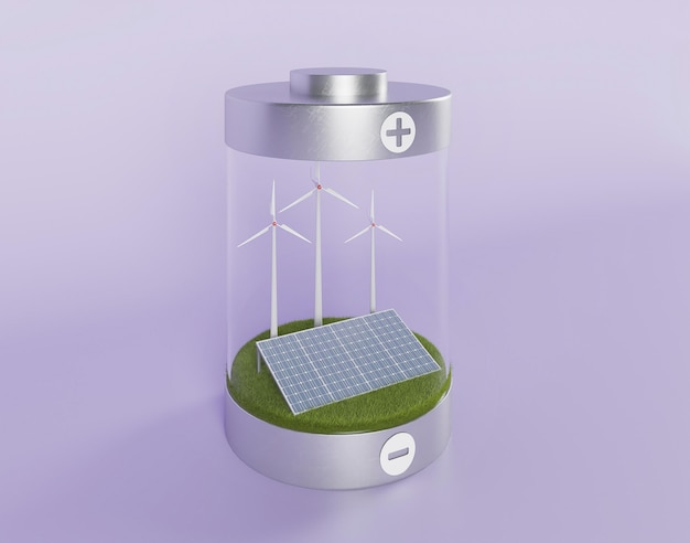 Panneaux solaires et moulin à vent 3d