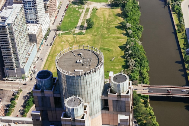 Panorama de chicago depuis la hauteur près du lac michigan, gratte-ciel de l'illinois usa