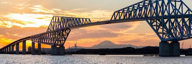 Panorama du coucher de soleil sur le pont de la porte de tokyo