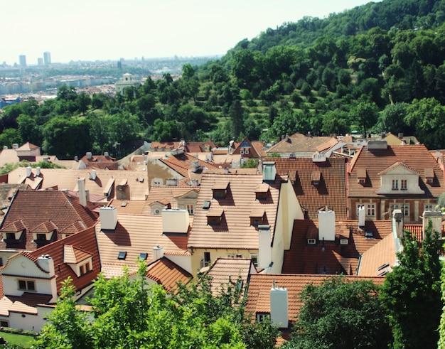 Panorama du pont charles, vue du château, prague, république tchèque