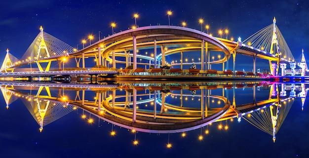 Panorama du pont suspendu de bhumibol en thaïlande.