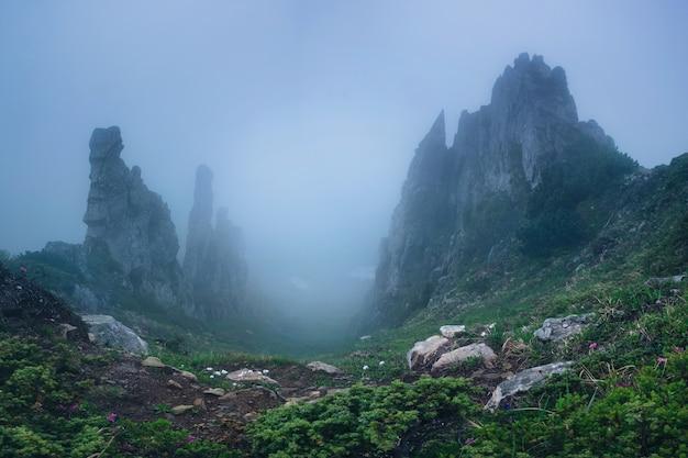 Panorama du rocher de montagne mystique dans le brouillard