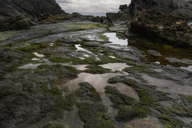 Panorama rocheux, réflexion sur les eaux vers un ciel nuageux