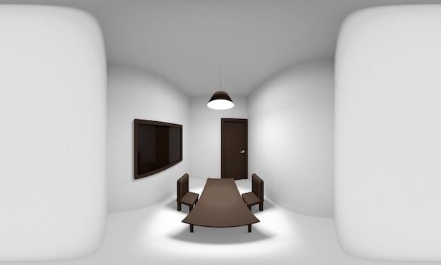 Panorama sphérique à 360 degrés de la pièce, rendu 3d.