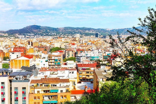 Panorama sur la ville de barcelone depuis le château de montjuic.catalogne. espagne.