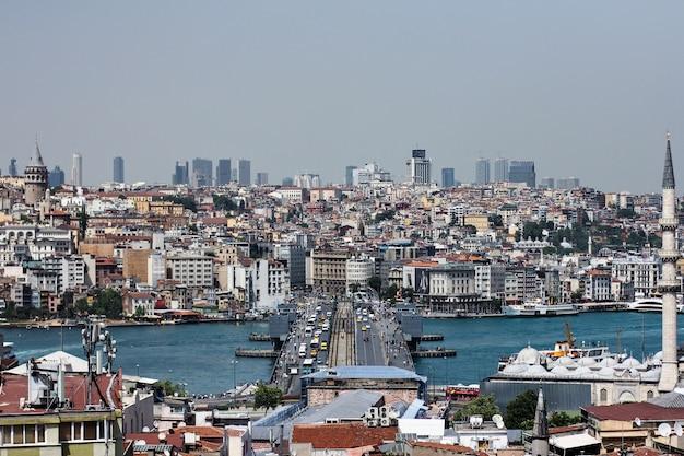 Panorama de la ville d'istanbul, turquie avec vue sur la tour de galata
