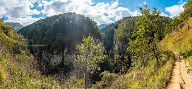 Panoramique dans la passerelle holtzarte, larrau. dans la forêt ou jungle d'irati, au nord de la navarre en espagne et dans les pyrénées-atlantiques de france