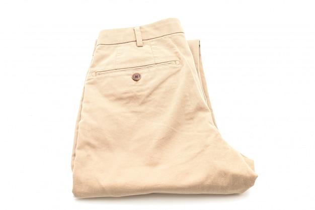 Pantalon biege sur blanc