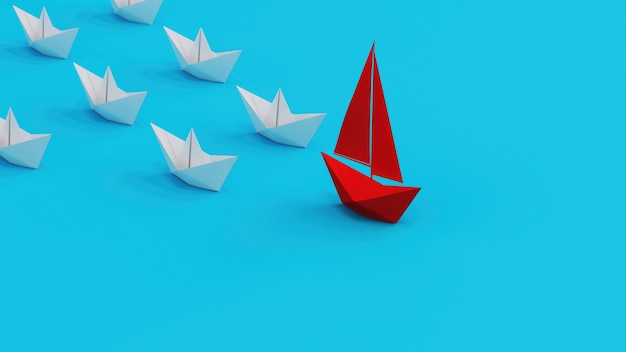 Les paperboats blancs suivent un paperboat rouge sur fond cyan et un leadership pour diriger le...
