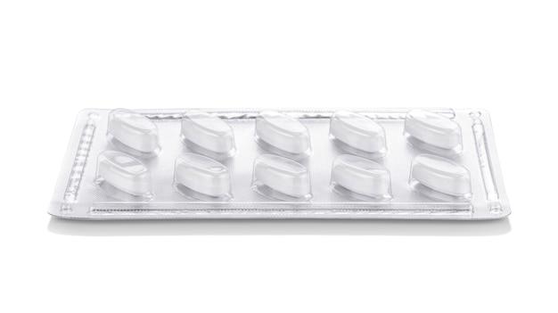 Papier d'aluminium avec emballage-coque en plastique de comprimés de médicaments ou de suppléments