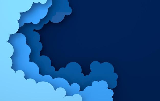 Papier art coloré fond de nuages duveteux avec place pour le texte