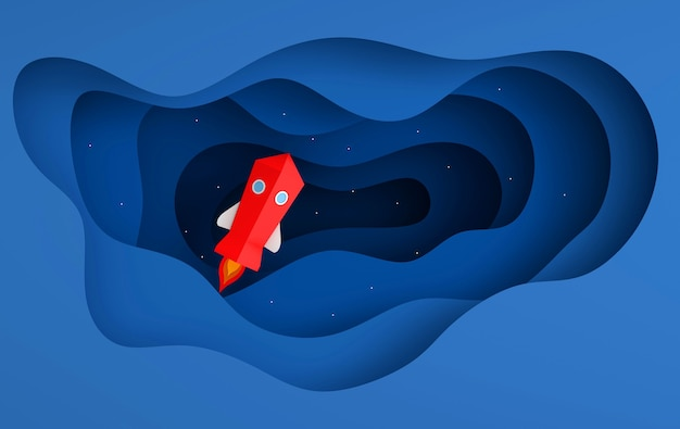 Papier d'art du lancement de la navette spatiale vers le ciel