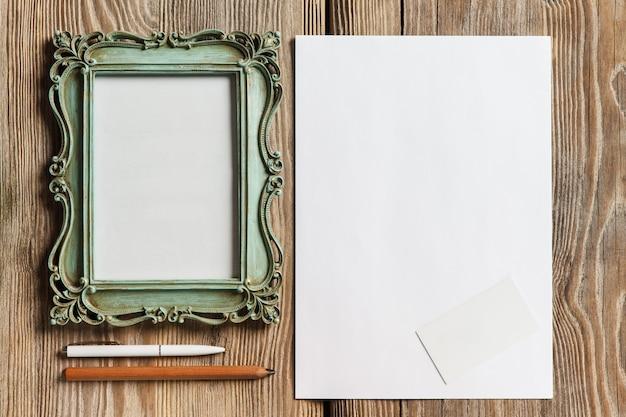 Papier avec cadre photo ancien vintage