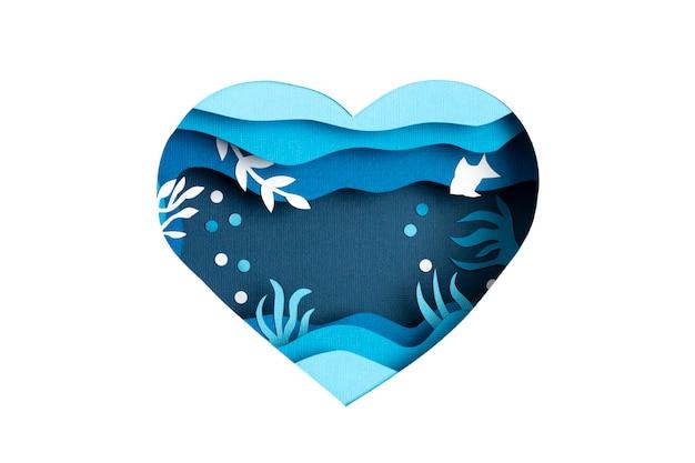Papier découpé pour la journée mondiale de l'océan en mer profonde. la vie marine bleue. sauvez le papier découpé des océans avec des poissons et des algues sur le mur d'eau de mer bleue. soin de l'environnement et protection de la nature.