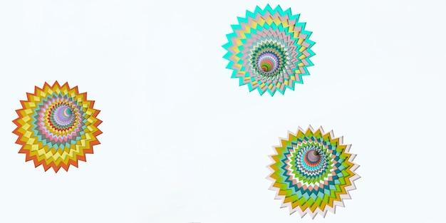 Papier découpé style abstrait coloré illustration 3d