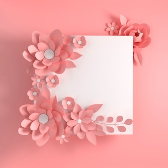 Papier élégant fleurs rose pastel sur fond rose