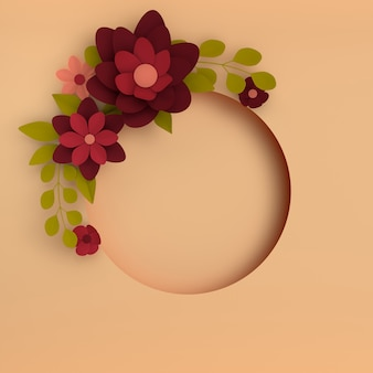 Papier élégant fleurs rouge foncé sur fond beige