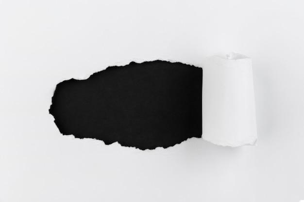 Papier émietté vue de dessus