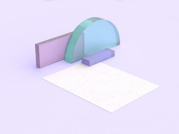 Papier forme claire scène violet rendu 3d minimal