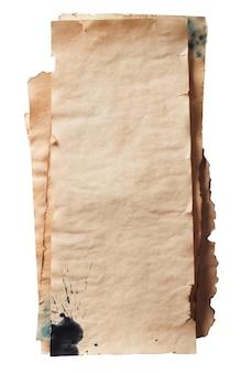 Papier grunge vieilli rétro, isolé sur blanc