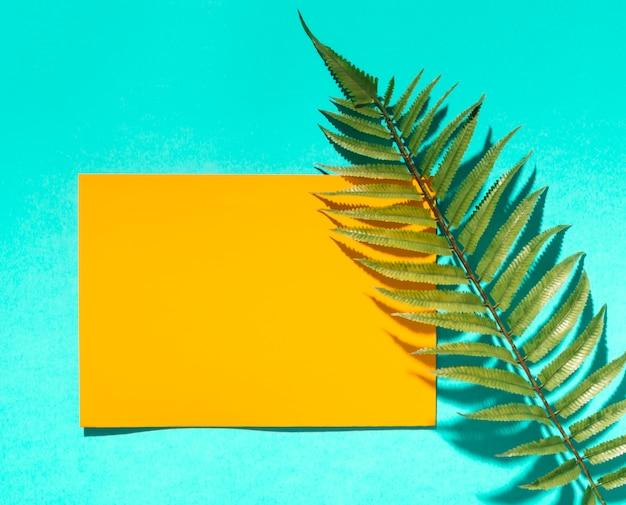 Papier jaune et feuille d'arbre