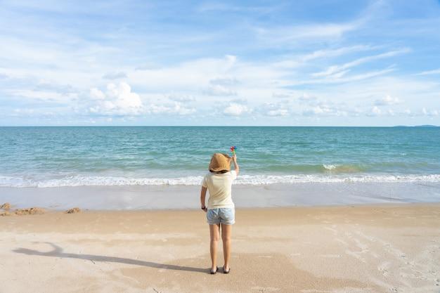 Papier de moulin à vent coloré brodé sur la plage vue sur la mer pendant la journée