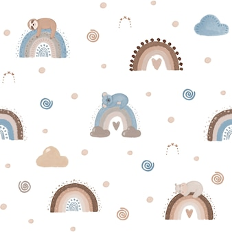 Papier numérique arc-en-ciel, arc-en-ciel bsckground, modèle sans couture arc-en-ciel, papier peint pour enfants mignons