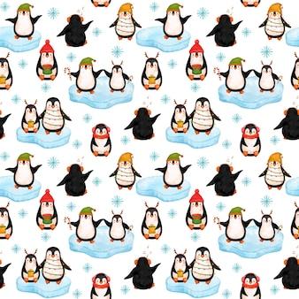 Papier numérique little penguins, modèle sans couture de noël pingouins.