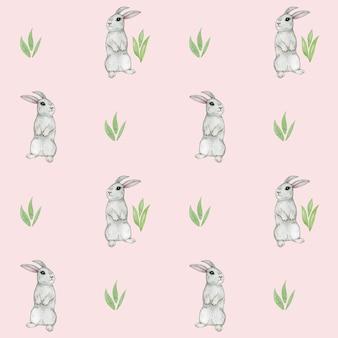 Papier numérique mignon lapin, modèle sans couture de lapin, papier scrapbook pour enfants