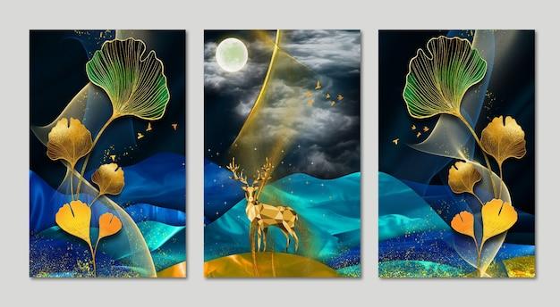 Papier peint 3d art mural avec fond bleu foncé arbre de noël coloré feuilles montagne