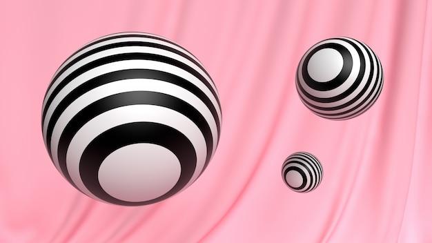 Papier peint abstrait 3d boule cosmétique noir et blanc sur rose